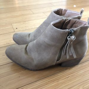 Taupe/tan suede ankle boots from JustFab